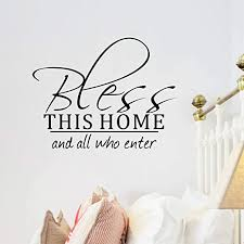 Amazon Com Bible Verse Wall Decals Bless This Home And All Who Enter Scripture Wall Decal Front Door Stickers Christian Welcome Living Room Family Vinyl Inspirational Quotes House Saying Lettering Motivational Home