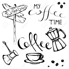 set of hand drawn coffee quotes and pictures royalty cliparts