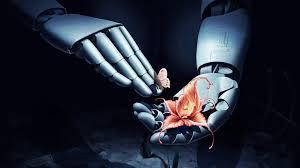 robot 3d hand flowers erfly