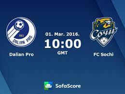 Dalian Pro FC Sochi live score, video stream and H2H results - SofaScore