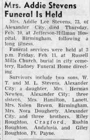 Obituary for Addie Lee Stevens (Aged 73) - Newspapers.com