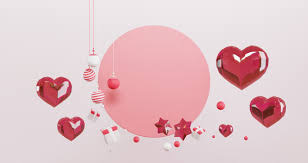 3d rendering of valentine set of red