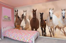 Herd Of Horses Panoramic Wall Mural Wallsauce Uk Horse Decor Bedroom Horse Bedroom Horse Girls Bedroom