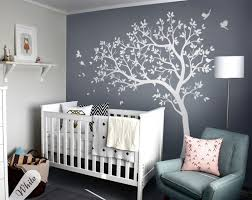 White Tree Wall Decal With Leaves And Birdswallconsilia Com