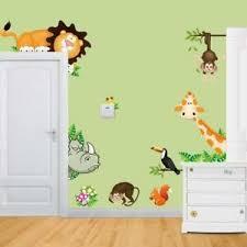 Wall Art Decals Animal Zoo Lion Monkey Giraffe Nursery Decor Kids Room Gift New Ebay