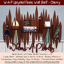 Second Life Marketplace Whims A Plenty Boxed Upcycled Fence Wall Shelf Cherry