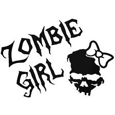Zombie Girl Skull Vinyl Decal Sticker