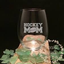 hockey mom glass etched stemless wine