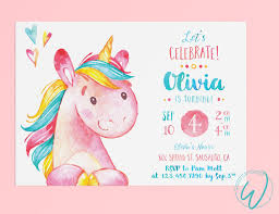 Invitacion Fiesta De Cumpleanos De Unicornio Pequena Nina