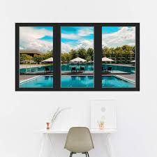 Vwaq Vacation Wall Decal 3d Window View Office Nature Sticker Decor