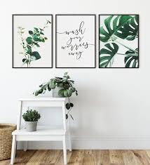 Wash Your Worries Away Bathroom Wall Art Botanical Eucalyptus Etsy