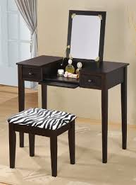 flip mirror top and zebra print stool