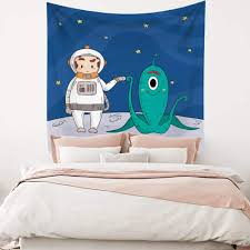 Amazon Com Leowefowas Room Decor Space Cartoon Tapestry Baby Kids Room Wall Hanging Astronaut With Alien Stars Tapestry Modern Home Wall Art Blanket 59 1 X39 4 Wall Tapestry For Living Room Bedroom Dorm Home