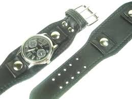22mm black wide leather cuff watch band
