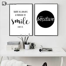 Nicoleshenting Smile Simple Quote Motivational Poster Prints Black White Wall Art Canvas Inspirational Quotes Wall Art Black And White Wall Art Wall Art Quotes