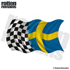 Sweden Racing Checkered Flag Decal Swedish Race Car Vinyl Sticker Lh Rotten Remains High Quality Stickers Decals