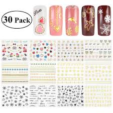 Amazon Com Ruimio 30 Sheet Nail Stickers Decals 3d Nail Art Stencils Designs Beauty