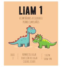 Invitacion Cumpleanos Dinosaurios Diseno Digital Personalizable