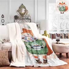 Amazon Com Throw Blanket Comfortable And Warm Cute Little Fox And Bird On His Head Tea Time Kids Nursery Friends Baby Theme Bedroom Warm Blanket Green Orange W59 Xl47 Home Kitchen