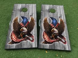 Product American Eagle Usa Flag Wood Cornhole Board Game Decal Vinyl Wraps With Laminated