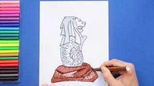 how to draw singapore merlion you