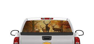Deer Rear Window Graphic Decal Sticker Car Truck Suv Buck Black White 362