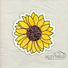 Sunflower Decal Sunflower Vinyl Sticker Sunflower Sticker Etsy