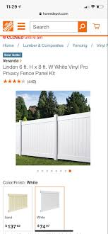 Veranda Linden 6 Ft H X 8 Ft W White Vinyl Pro Privacy Fence Panel Kit 73013298 The Home Depot In 2020 Privacy Fence Panels Fence Panels White Vinyl Fence