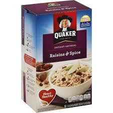 quaker instant oatmeal raisins e