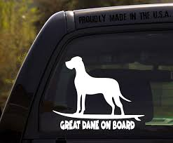 Amazon Com Ohiodecals Com Great Dane On Board Funny Dog Breed Decal Sticker For Car Or Truck Window Automotive