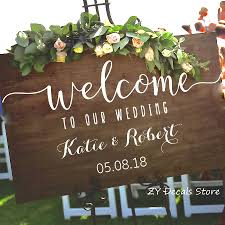 Wedding Welcome Sign Stickers Rustic Wood Wedding Decor Decal Personalized Vinyl Sticker S701 Bedwinthine