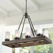 8 lights rustic chandeliers use wood