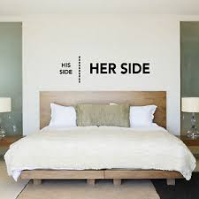 His Side Her Side His Hers Bedroom Wall Sticker Decal Wedding Gift Ebay
