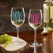 Bride Tribe Personalized White Wine Glass Wedding Gifts