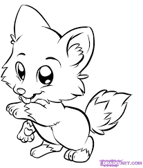 coloring page baby fox high quality