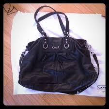 coach bags black purse with purple