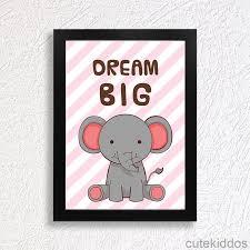 poster gajah lucu quote dream big hiasan dinding inspiratif