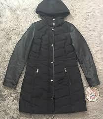 bebe black women hooded long puffer