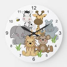 Safari Animals Baby Nursery Kids Jungle Room Large Clock Zazzle Com