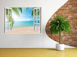 3d Depth Illusion Vinyl Wall Decal Sticker Window Frame Style Home Da C Cor Art Removable Wall Sticker 85 X 115 Cm Ocean Sea Seascape Palm Trees Beach View Beach Home Decor