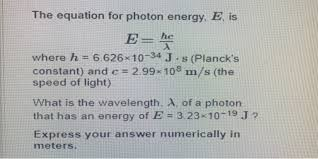 the equation for photon energy e