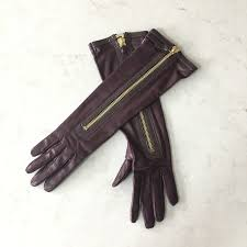 auth womens long leather gloves
