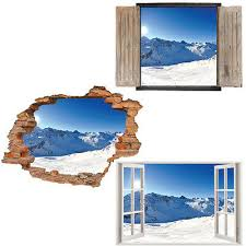 Window Wall Sticker Decal Vinyl 3d Snow Mountains Forest Home Art Room Decor