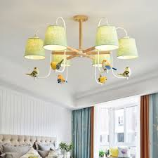 Cone Shade Hanging Lamp With Angel Baby Bird Kids Room Wooden 3 6 Lights Suspended Light In White Finish Susuohome Com