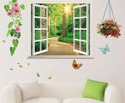 China 3d Sunshine Forest Fake Window Wall Sticker Home Decoration China Wall Sticker And Home Decoration Price
