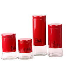china glass canister set for kitchen
