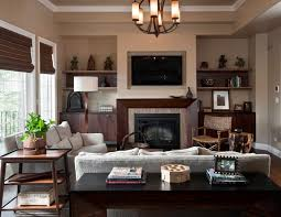 living room with brown fireplace