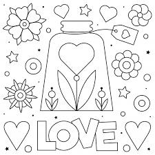 Love Kleurplaat Premium Vector