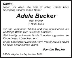 Anzeige von Adele Becker   Trauer & Gedenken