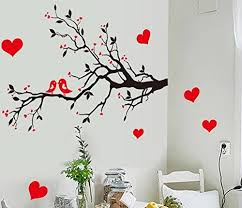 Bibitime Black Tree Branch Red Plum Wall Decal